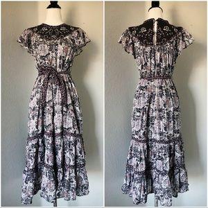 Rebecca Taylor La Vie Floral Flutter Midi Dress